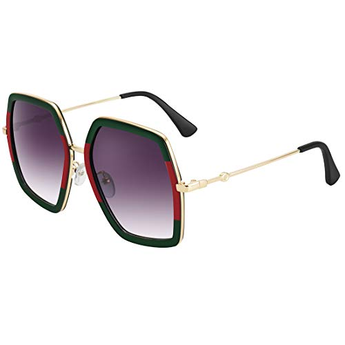 WOWSUN Oversized Fashion Sunglasses For Women Irregular Inspired Brand Designer Style (Red Green Frame - Gradient Lens, 65) ()