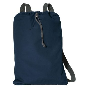 (Port Authority Canvas Soft Cotton Drawcord Toggle Cinch Pack, Navy, One Size)