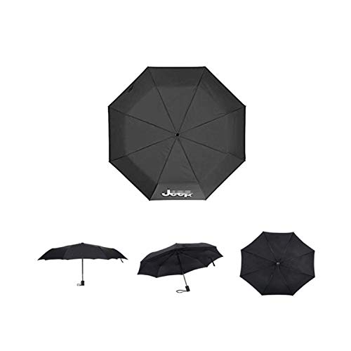 Ldntly Compact Folding Umbrella,Black Automatic Folding 8 Ribs Reinforced Rid Superb Windproof Waterproof Umbrella,Auto Open/Close for One Handed Operation with Car Logo