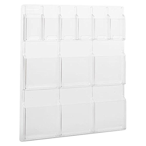 (TableTop King 5606CL Reveal Clear 12-Compartment Wall-Mount Display Rack - 30