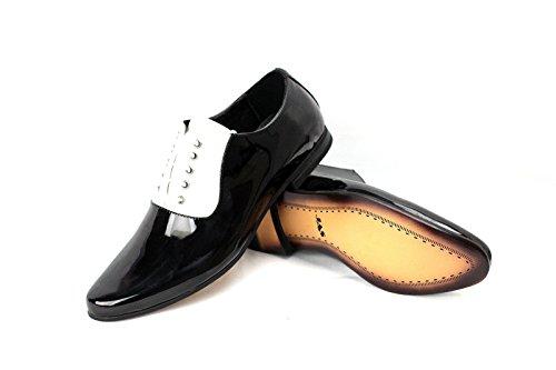 Herren Smart Schnürschuhe Anzugschuhe für Office Hochzeit Formell Works Schwarz/Weiß