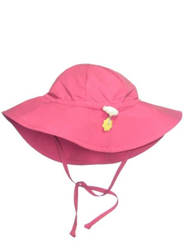 Iplay Baby Infant Toddler Unisex UPF 50 Solid Brim Sun Hat (Hot Pink, 6-18 ()
