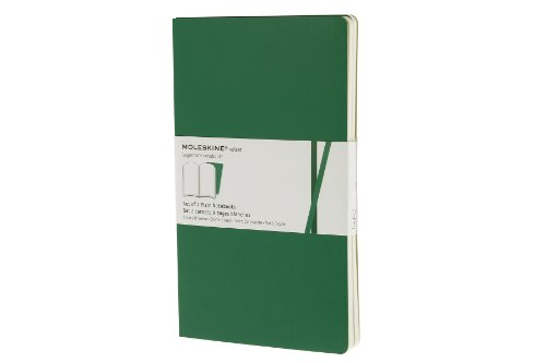 Moleskine Volant Notebook  Set Of 2    Large  Plain  Emerald Green  Oxide Green  Soft Cover  5 X 8 25