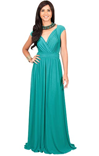Cocktail Wedding Dress Gown - KOH KOH Plus Size Womens Long Cap Short Sleeve Cocktail Evening Sleeveless Bridesmaid Wedding Party Flowy V-Neck Empire Waist Vintage Sexy Gown Gowns Maxi Dress Dresses, Turquoise 2XL 18-20