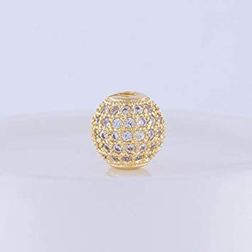 Calvas New Trendy Copper Zircon CZ Beads Ball Jewelry Components Spacer Round Beads DIY Jewelry Bracelet Accessories PZ0037 Color: White Gold