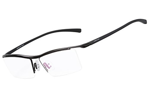 - Agstum Pure Titanium Half Rimless Business Glasses Frame Optical Eyeglasses Clear Lens (Black)