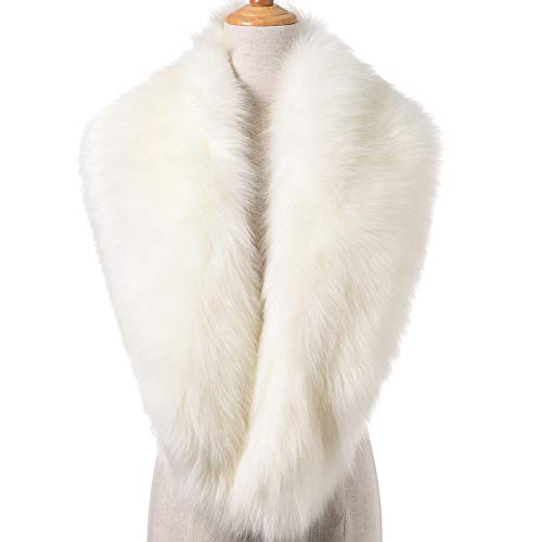 Dikoaina Extra Large Women's Faux Fur Collar for Winter Coat (100cm, White) -