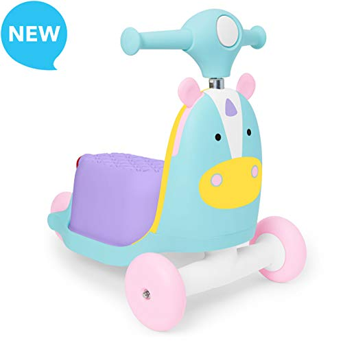 Skip Hop Kids 3-in-1 Ride On Scooter and Wagon Toy, Unicorn ()