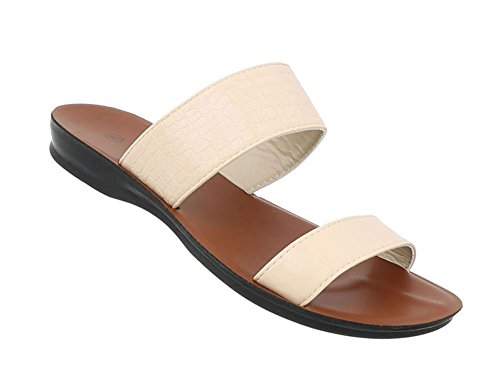 Schuhcity24 Damen Schuhe Sandaletten Pantoletten Beige