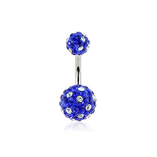 - Covet Jewelry Crystal Paved Ferido Ball 316L Surgical Steel Navel Ring (Blue)