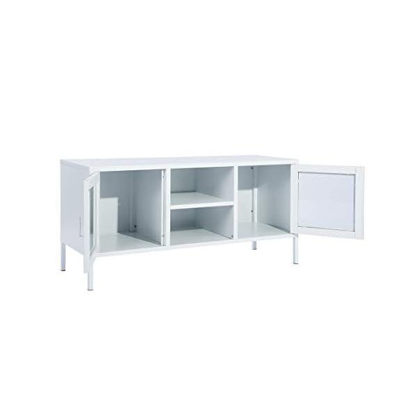MEUBLE COSY Grand Espace couches, 2 Portes Métal Meuble de Bureau, Buffet de rangement, Armoire avec étagère Blanc, 120…