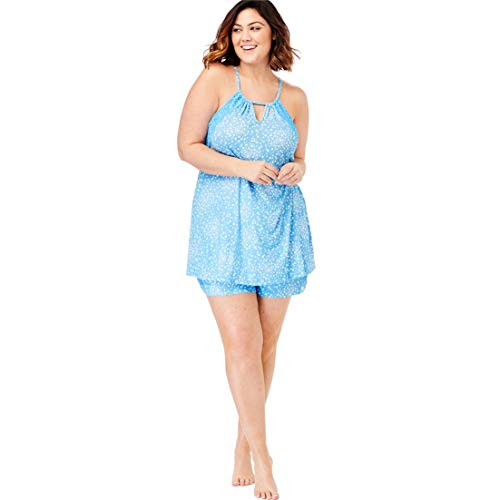 Dreams & Co. Women's Plus Size Print Shorty Pj Set - Baby Blue Stars, 18/20