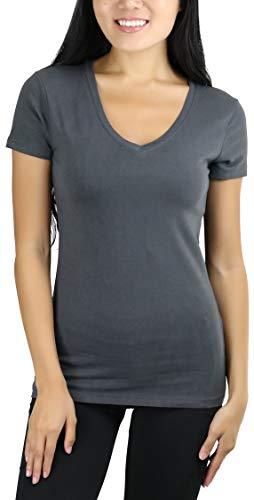 (ToBeInStyle Women's Short Sleeve V-Neck Basic T-Shirt - Ash Grey - XL)