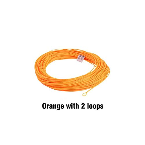 Fishing Line 100Ft Weight Forward Floating Fly Fishing Line 2Wt/3Wt/4Wt/5Wt/6Wt/7Wt/8Wt Fly Line,Orange 2 Loops,Wf2F