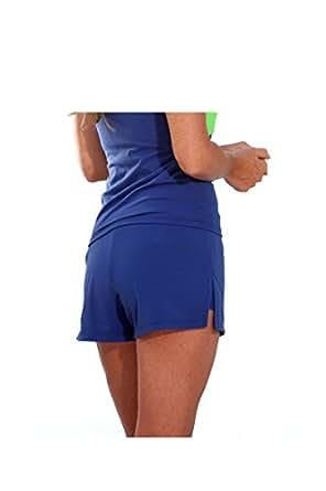 Show No Love Women's Center Court Performance Tennis Short in Sport Blue (size S)