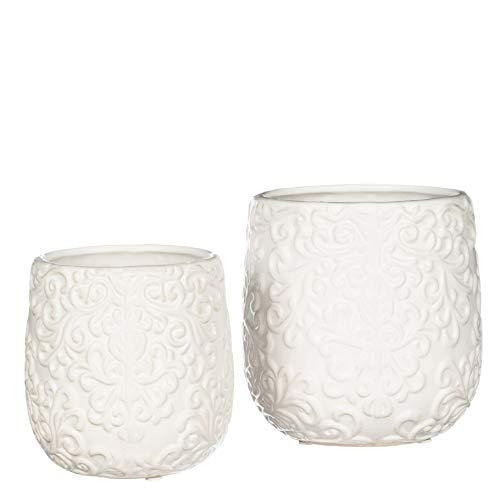 (Sullivans White Ceramic Vases Embossed with Elegant Scrollwork, Set of 2)