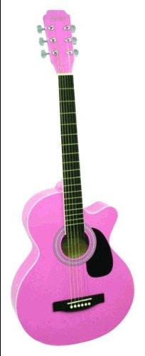 Pink Cutaway Acoustic Guitar (Main Street Guitars MAS38PNK 38-Inch Acoustic Cutaway Guitar in Pink Finish)