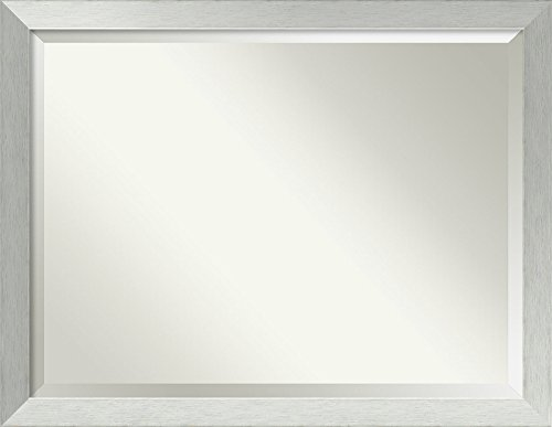 """Amanti Art Framed Brushed Sterling Silver Solid Wood Wall Mirrors, Oversize Large-44 x 34"""""""