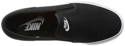 Nike Womens Toki Slip Duk Avslappnad Sko Svart, Vit