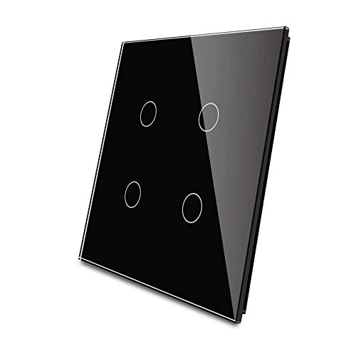 LIVOLO Black US Standard,Luxury Tempered Glass Panel For 2 Gang&2 Gang Wall Touch Switch, C5-C2/C2-12
