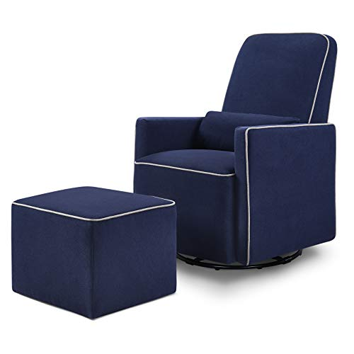 DaVinci Olive Upholstered Swivel Glider with Bonus Ottoman, Navy with Grey Piping