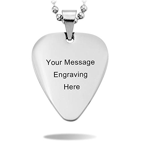 (MeMeDIY Silver Tone Stainless Steel Pendant Necklace Guitar Pick Heart,Come with Chain - Customized Engraving)