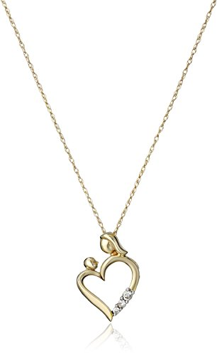 - 10k Yellow Gold and Diamond Accent Mom and Child Heart Pendant Necklace