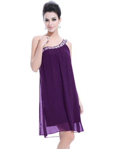 Ever Pretty Womens One Shoulder Grecian Cocktail Dress 16 US Purple
