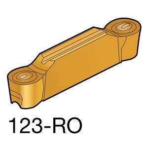 Sandvik Coromant CoroCut 2-Edge Carbide Profiling Insert, S05F Grade, Multi-Layer Coating, 2 Cutting Edges, N123H2-0500-RO, 0.0984'' Corner Radius, H Insert Seat Size (Pack of 10) by Sandvik Coromant