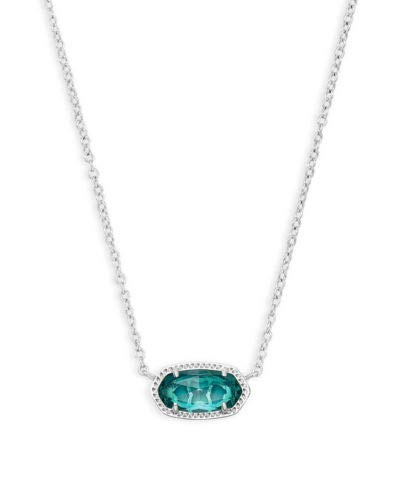 Kendra Scott Elisa Pendant Necklace in London Blue Glass and Rhodium Plated
