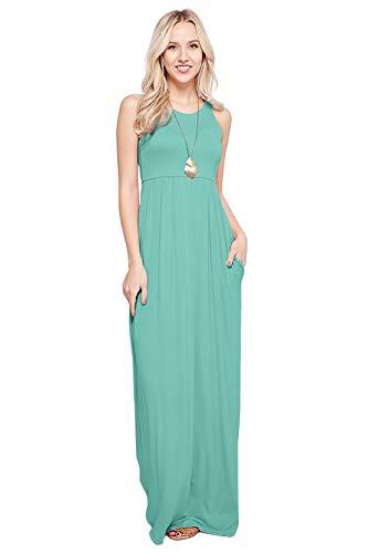 Sportoli Maxi Dresses for Women Solid Lightweight Long Racerback Sleeveless W/Pocket -Mint (Medium)