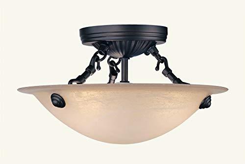 Livex Lighting 5624-07 Home Basics 3 Light Bronze Semi Flush Mount with Honey Alabaster Glass ()