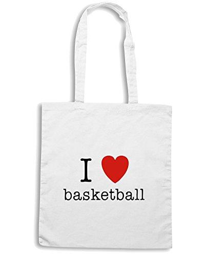 T-Shirtshock - Bolsa para la compra TLOVE0004 i heart basketball Blanco