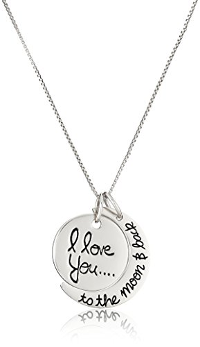 Amazon CollectionColgante de plata de ley con texto en inglés'I love you to the moon &~back', 45,72 cm, Plateado