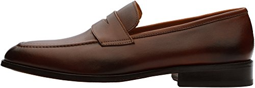 Men's Penny Brown Leather Slip On 3DM Lifestyle Loafer pWanxZ151