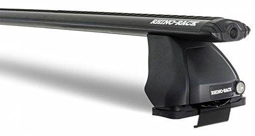 (Rhino Rack 2004-2014 Compatible with Ford F150 11th 12th Gen SVT Raptor 2dr 4dr Pick Up Super Crew Vortex 2500 Black 1 Bar Roof Rack JA2725 )