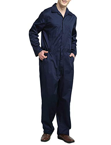 TOPTIE Men's Regular Long Sleeve Snap Zip-Front Coverall, Navy, XL