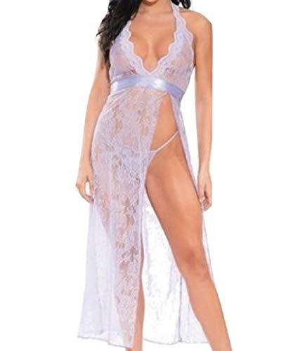 (Shirley of Hollywood Lace Open Side Slit Long Dress Satin Belt, G-String Lilac (Medium))