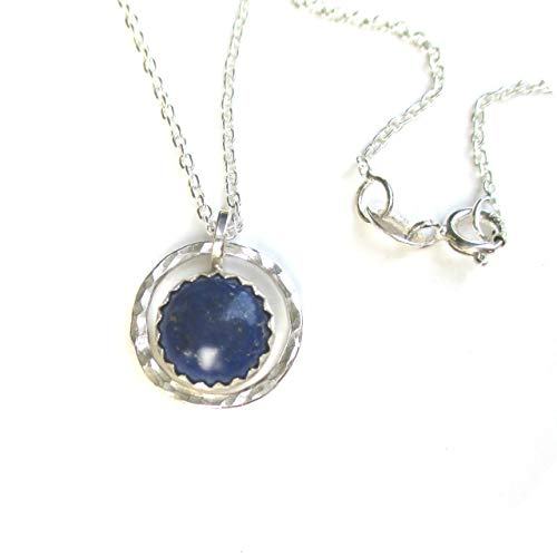 Deep Blue Lapis Pendant - Hammered Silver with Blue Lapis Pendant Necklace