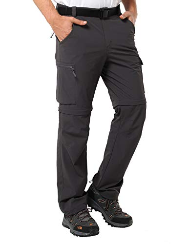 MIER Men's Convertible Pants Quick Dry Cargo Pants Lightweight Comfort Stretch for Hiking Travel, 7 Pockets, Graphite Grey, XXL