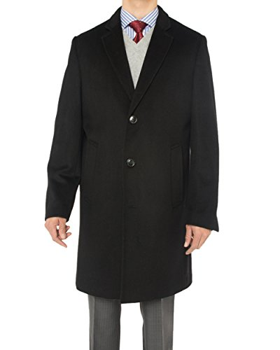 LN LUCIANO NATAZZI Men's Cashmere Wool Overcoat Knee Length Trench Coat Topcoat (44 US - 54 EU,Black)