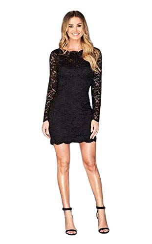 (La Femme - Long Sleeved Lace Cocktail Dress 25134 Black)