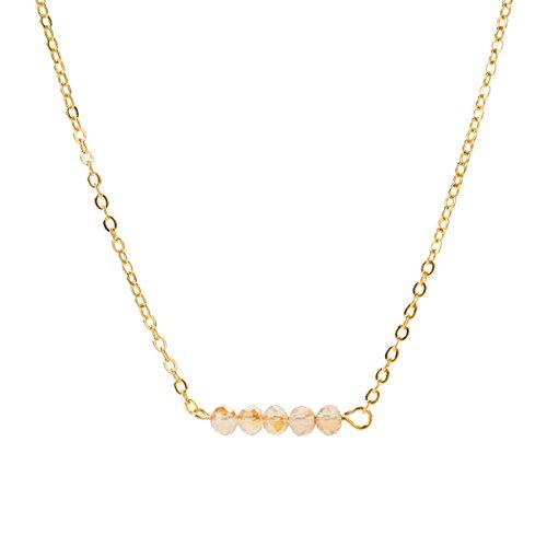 Befettly Mini Gemstone Bar Necklace Delicate Crystal Bead Bar Minimal Delicate Handmade 14k Gold Fill Boho Chain-CK7-Golden Shadow