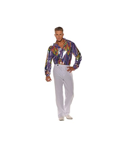 1970s King Disco Men Shirt - Plus Size (2X) White ()