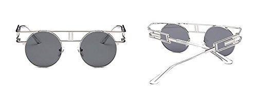 style A retro Grise métallique cercle vintage polarisées lunettes rond de Feuille inspirées en du soleil Lennon HTXqxS