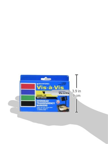EXPO 1574 Vis-A-Vis Wet-Erase Overhead Transparency Markers, Chisel Tip, Assorted Colors, 4-Count by Expo (Image #2)