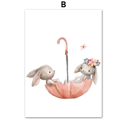 FAT BIG CAT Baby Rabbit Fox Balloon Wall Art Canvas Painting Nordic Posters and Prints Cartoon Animals Wall Pictures Baby Kids Room Decor,30X40 cm No Framed,B ()