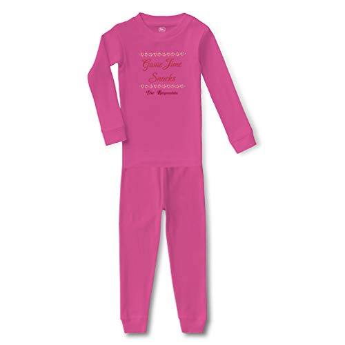 Personalized Custom Game Time Snacks Cotton Crewneck Boys-Girls Infant Long Sleeve Sleepwear Pajama 2 Pcs Set Top and Pant - Hot Pink, 6 Months ()