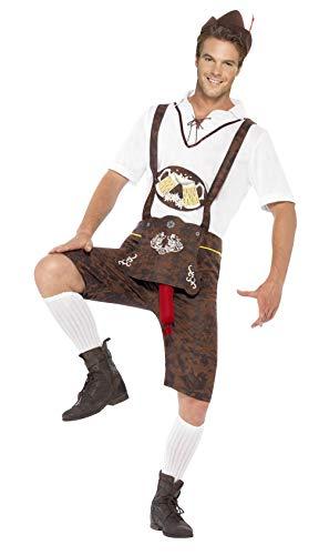 Smiffys Men's Brad Wurst Costume, Lederhosen, Shirt and Hat, Funny Side, Serious Fun, Size XL, 43399