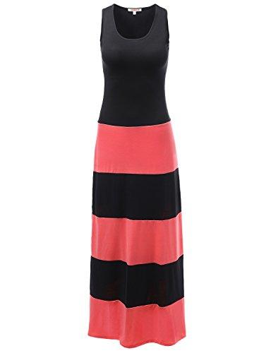 Stripe Colorblock Sleeveless Tank Maxi Dresses Coral Size S